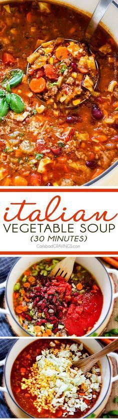 30 minute Italian Vegetable Soup – This is the BEST version I have tried – my family begs me to make this soup!  hearty, comforting chunks of ground beef and veggies in an Italian spiced tomato broth  - SO good and easy!  via /carlsbadcraving/