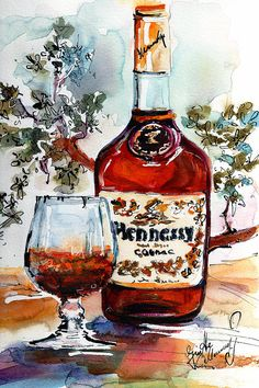 #Cognac #Hennessy #Bottle And Glass Still Life #artprint by Ginette Callaway