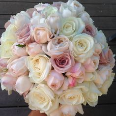The brides bouquet , soft antique roses, david austins. Just beautiful Married At First Sight, Arch Flowers, David Austin, Antique Roses, Bride Bouquets, Brides, Wedding Flowers, Weddings, Antiques