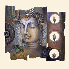 Mural Wall Art, Mural Painting, Murals, Buddha Wall Art, Buddha Painting, Buddha Peace, Daisy Painting, Indian Art Paintings, Angel Art