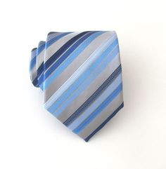 Mens Ties Silver Gray Navy Blue Powder Blue Stripes Necktie With Matching Pocket Square Option