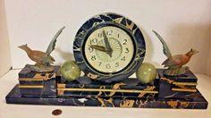 Vintage Black Marble ART DECO 1950's Electric Mantle Clock w/ Pheasants, Spheres #ArtDeco #HeroldProductsIncChicagoIll