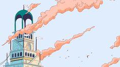 Delightful animation of Paris-based illustrator Ugo Gattoni's imaginary horse city slash scarf design for Hermès
