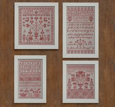 4 Sampler Patterns - Letters from the North 1, 2, 3 & 4 - Instant Download PDF Cross Stitch Embroidery Pattern