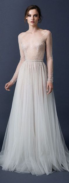 Paolo Sebastian Couture Sheer Long Sleeve Wedding Dress.