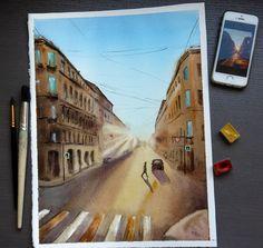 Morning in Saint Petersburg  Watercolor