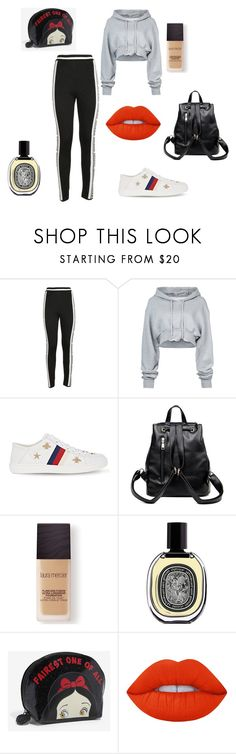 """""""m,eds,bfnkj"""" by alessiabazzurro on Polyvore featuring MSGM, Off-White, Gucci, Laura Mercier, Diptyque and Lime Crime"""
