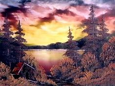 Bob Ross - typical bob ross painting with much colors, trees and cabin ever-so present in Bob natural world - web source - MReno