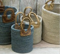 Indra Coil Basket Blue New in Woven Coil Basket – children's furniture Woven Coil Basket – children's furniture Large storage basket made from natural jute, cotton and leather. Hand spun fair trade basket by Nkuku for toys, the bathroom or washing. Rope Basket, Basket Bag, Basket Weaving, Fabric Bowls, Rope Crafts, Fireplace Accessories, Storage Baskets, Storage Ideas, Organization Ideas