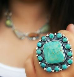 Picking a Flower - Turquoise Sterling Silver Cluster Ring