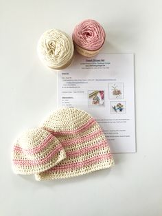Sweet Stripes Baby Hat crochet pattern and yarn kit in pink - baby hat crochet pattern and organic cotton yarn to make the sweetest baby hat ever.