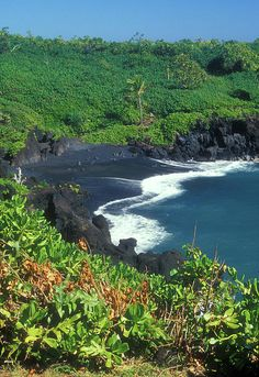 Black Sand Beach in Maui. The road to Hana. One of my favorite places.