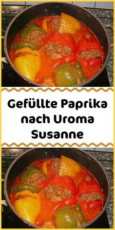 simply stuffed peppers after Uroma Susanne - Ingredients 10 bell peppers, yellow, depending on the size, possibly more 500 g minced meat, mixed - Easy Smoothie Recipes, Easy Smoothies, Good Healthy Recipes, Healthy Snacks, Sante Plus, Food & Wine Magazine, Coconut Recipes, Water Recipes, Food And Drink