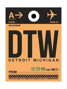 DTW Detroit Luggage Tag 1 Posters by NaxArt at AllPosters.com