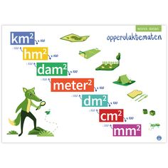 Inhoudsmaten Math School, School Tool, School Lessons, School Hacks, School Computers, Co Teaching, Math Poster, Numbers For Kids, Math Formulas