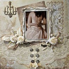 Layout: The Dress - Swirlydoos Scrapbook Designs, Scrapbook Page Layouts, Scrapbook Albums, Scrapbook Cards, Wedding Scrapbook Pages, Vintage Scrapbook, Wedding Book, Wedding Cards, Wedding Albums