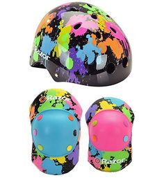 Razor Splatter Children's Multi-Sport Helmet And Elbow Pad Set Sport Bike Helmets, Kids Helmets, Sports Helmet, Sport Bikes, Bicycle Helmet, Go Fit, Safety Helmet, Plastic Caps, Children