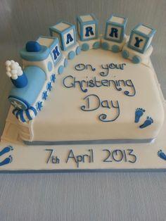 Train christening cake - by KirstensCakes @ CakesDecor.com - cake decorating website