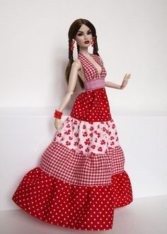 Red ethnic sundress  for Poppy Parker,  Nu face by Olgaomi