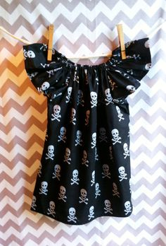 Girls Skull Peasant Dress in a Size 2T by BabyJaneDeisgns on Etsy, $18.00