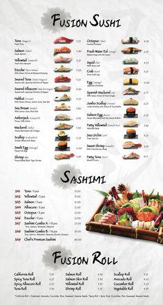 Fusion Sushi Japanese Restaurants - Manhattan Beach and Long Beach in California Japanese Food Sushi, Japanese Menu, Japanese Dishes, Oshi Sushi, Japanese Restaurant Menu, Different Types Of Sushi, Cooking Sushi, Sushi Sauce, Sushi Menu