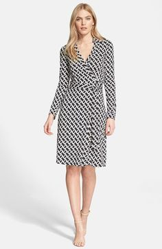 Free shipping and returns on Diane von Furstenberg 'New Jeanne Two' Print Silk Wrap Dress at Nordstrom.com. Known for her game-changing dresses, Diane von Furstenberg refreshes her iconic faux-wrap design with a monochromatic chain motif. The point collar and sash belt visually balance the ultra-flattering silhouette cut from soft-knit silk jersey.