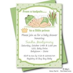 Unique little prince frog baby shower invitation featuring a cute baby boy with frog hat and a crown. Custom digital printable invite with