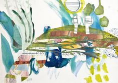 original abstract watercolor collage on paper 36 by ValeriaKondor
