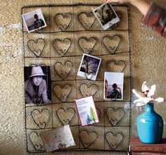 Wire Hearts Card Or Photo Holder