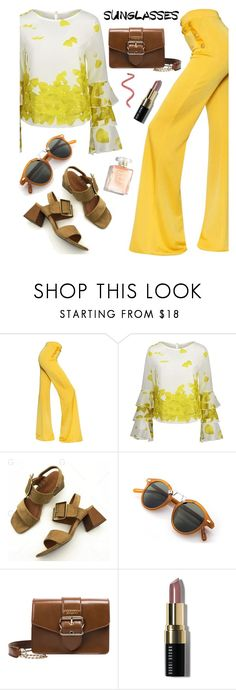 """Gamiss yellow outfit #13"" by wannanna ❤ liked on Polyvore featuring Balmain, Bobbi Brown Cosmetics, printedblouse, chicstyle, chiclook, gamissoutfit and gamisstop"