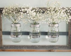 Mason Jar Wall Vase painted with Rustic Frame by DesignsbyMJL