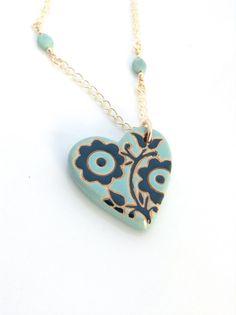 Pottery Heart Necklace, Ceramic Jewelry by UrbanClink, $41.95