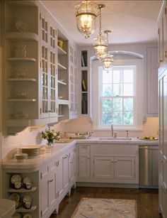 Small kitchen, light gray & white, corner shelves on end of cabinets  #kitchen #vintage #chic #elegant #white #gray #cabinets