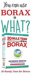 Borax is not just a detergent booster, there are many amazing borax uses you might not know. Moreover, it is natural and chemical free! See these 10 handy uses for borax. Deep Cleaning Tips, House Cleaning Tips, Natural Cleaning Products, Spring Cleaning, Cleaning Hacks, Borax Cleaning, Cleaning Recipes, Cleaning Quotes, Cleaning Supplies