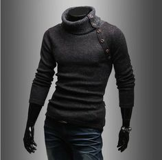 Free shipping 2014 Korea new spring Men's clothing High collar design Solid color sweater fashion business casual sweaters men US $12.98