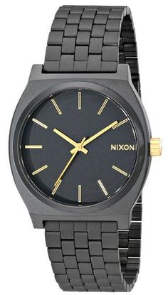 Nixon Time Teller Watch - Men's Matte Black/Gold Accent- If time is relative, do you still need to be punctual? Your best friend, your rock, in this crazy, inconsistent, and yes, oftentimes not-entirely-on-time world has got to be the Time Teller. Bold, simple lines cut through cloudy philosophy, while Japanese quartz movement keeps things precise. Because even your loftiest term paper still had to be in on schedule.