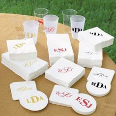 Set of 100 Personalized Clear Plastic Cups