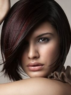 fun winter color - dark reddish brown with red highlights