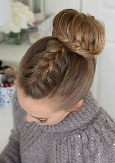 Three of Our Favorite Braided Updos Perfect for Brides Missy Sue's French & Lace Fishtail High Bun - September 21 2019 at Cool Braid Hairstyles, Dance Hairstyles, Hairstyles For School, Wedding Hairstyles, Beautiful Hairstyles, Teenage Hairstyles, Party Hairstyle, Spring Hairstyles, Cool Braids