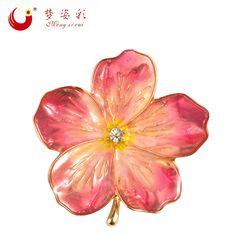 29cca6813 MZC 2018 Lucky Pink Enamel Flower Brooches Female Hijab Pin Corsage Brooch  for Women Wedding Dress