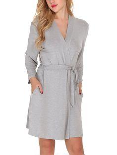 Bathrobes Kimono Loungewear Sleepwear - Cotton Grey - CK186G5MIHY 6915f3a48
