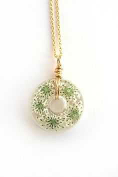 Queen Anne Lace Necklace Real Flowers in Resin by ScrappinCop