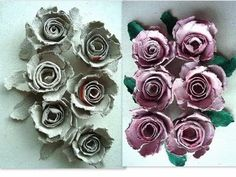 egg carton roses, how to diy, recycle, paper flowers, paper crafts, paper roses, - YouTube