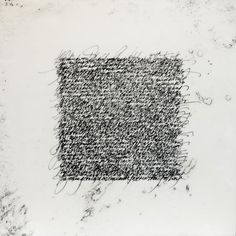 """Nancy Crawford - Easier to Bear - Encaustic and expressive calligraphy 12"""" x 12"""""""