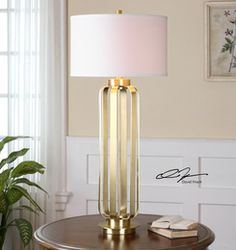 Baronia, Polished Gold Table Lamp by David Frisch