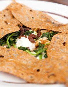 Spinach Raisin Walnut Crepes: easy vegan brunch recipe.