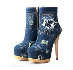 Sexy Denim Stiletto Heels Ankle Boots