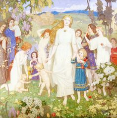 The Coming of Bride - John McKirdy Duncan - The Athenaeum.I love Duncan. Jig Saw, John Duncan, Glasgow Museum, St Brigid, John Everett Millais, Pre Raphaelite, Oil Painting Reproductions, Art Uk, Gods And Goddesses