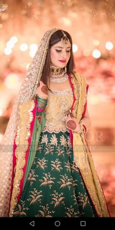 Image may contain: 1 person, standing Bridal Mehndi Dresses, Muslim Wedding Dresses, Bridal Dress Design, Bridal Outfits, Bridal Style, Asian Wedding Dress Pakistani, Pakistani Bridal Hairstyles, Pakistani Dresses, Pakistani Suits