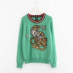 Autumn Winter 2017 Womens Fashion Sweaters Tiger Pattern O-Neck Green Wool Cotton Warm Sweater Embroidered And Beading